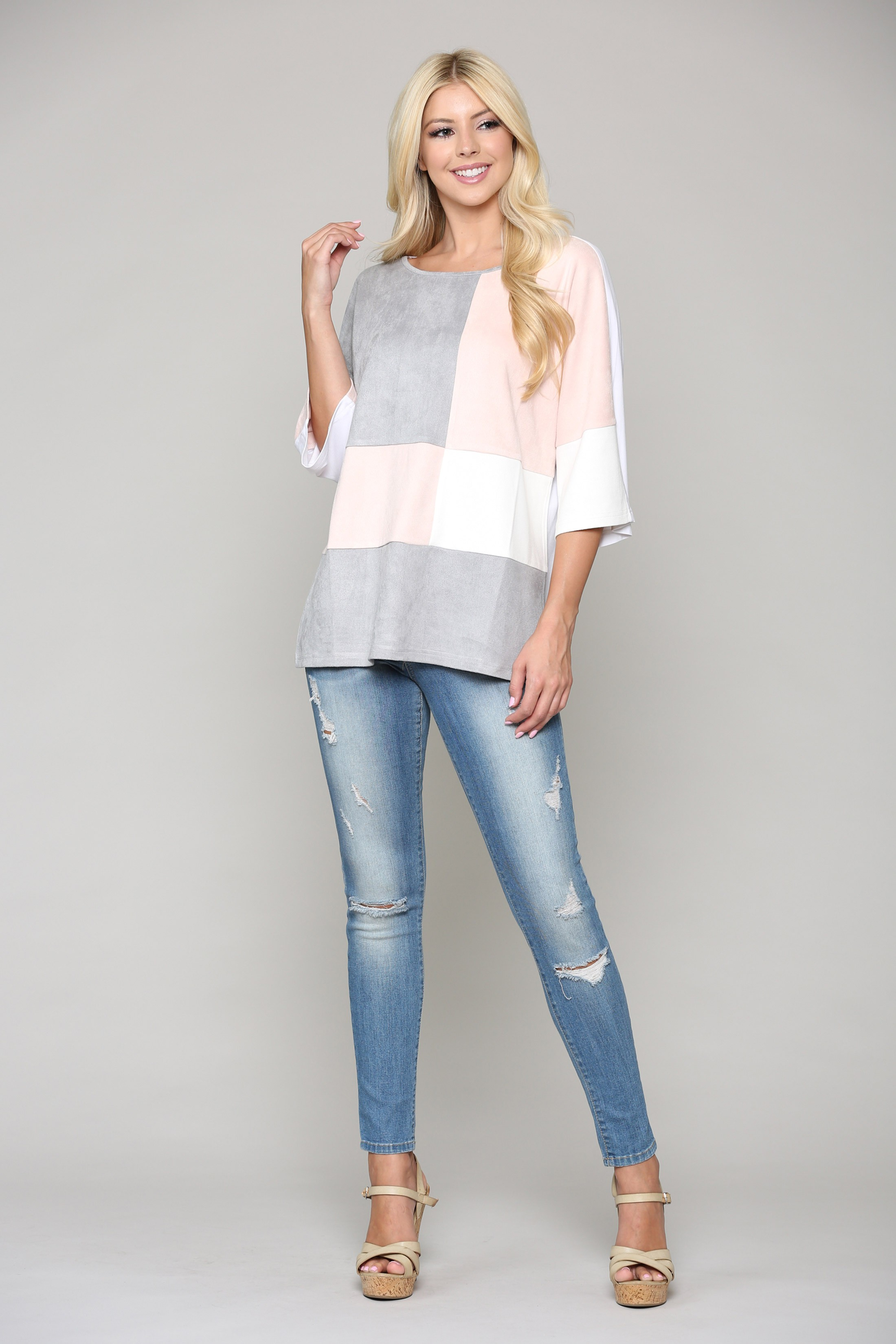 Abigail Color-Blocked Top - Multi - Front