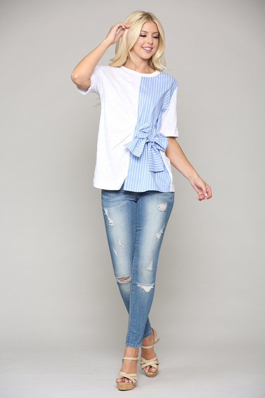Charlotte Top W/ a Side Bow -Multi - Front