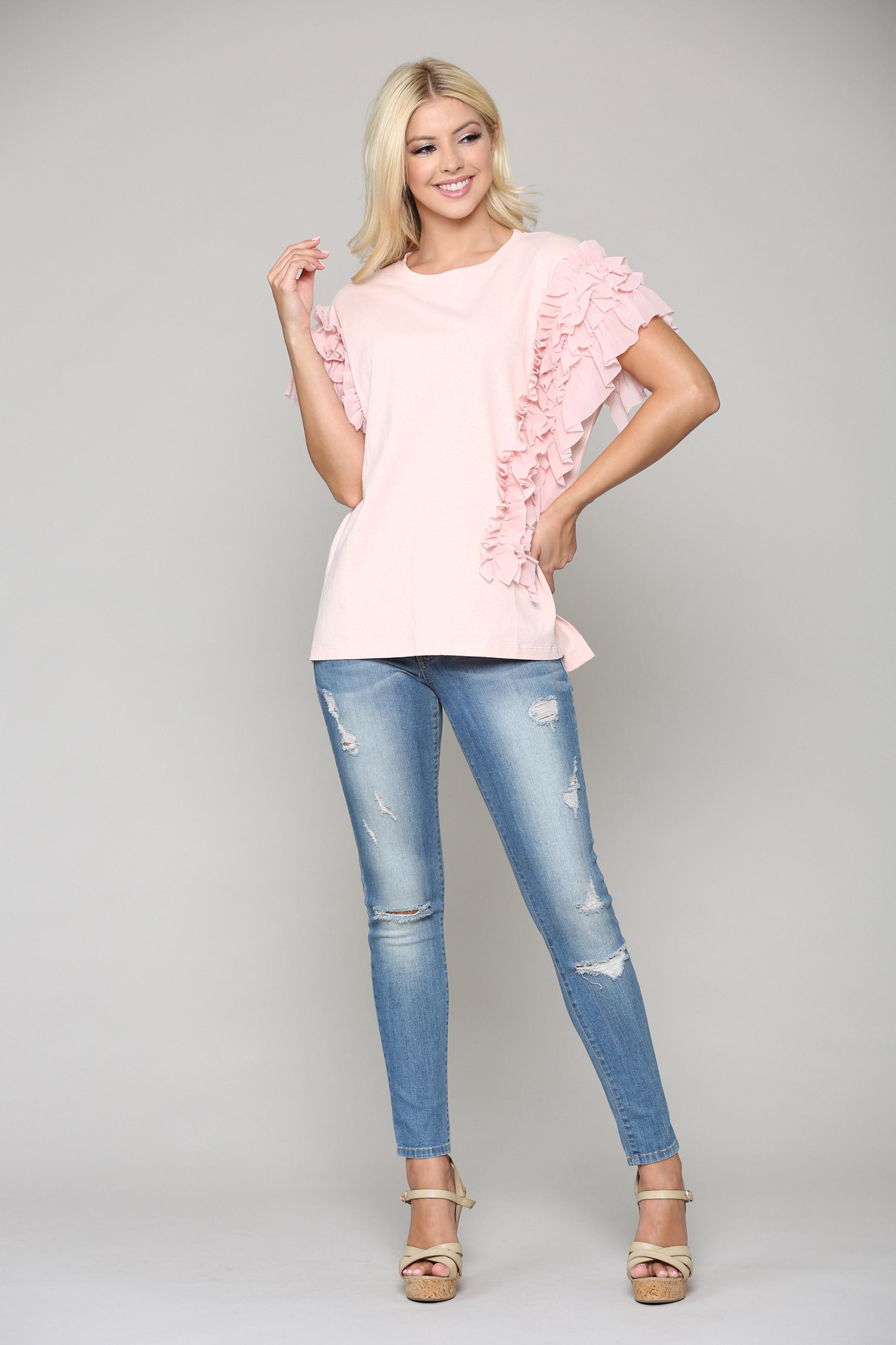 Kandice Ruffled Top -Pink - Front