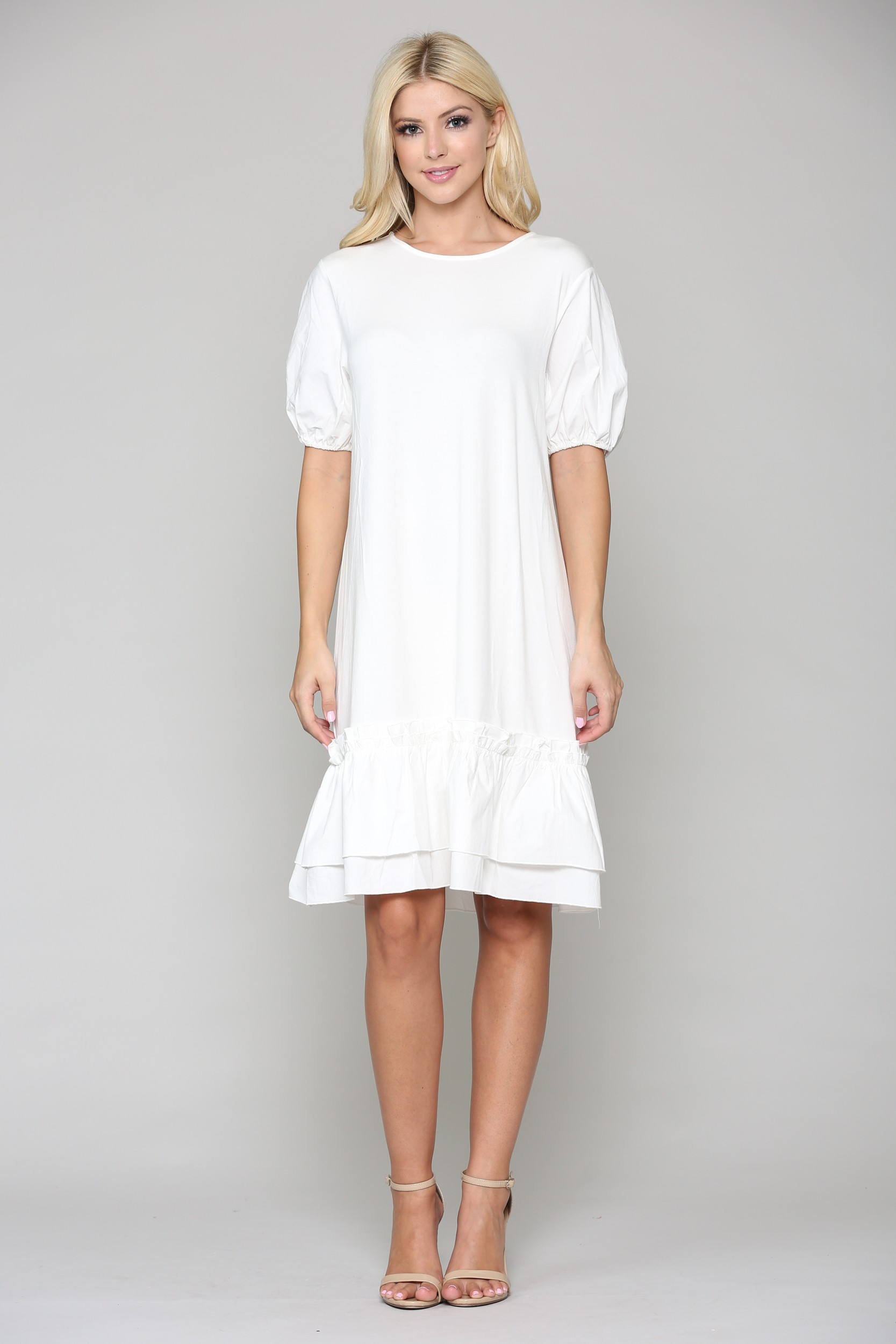 Francis Tunic Dress -White - Front
