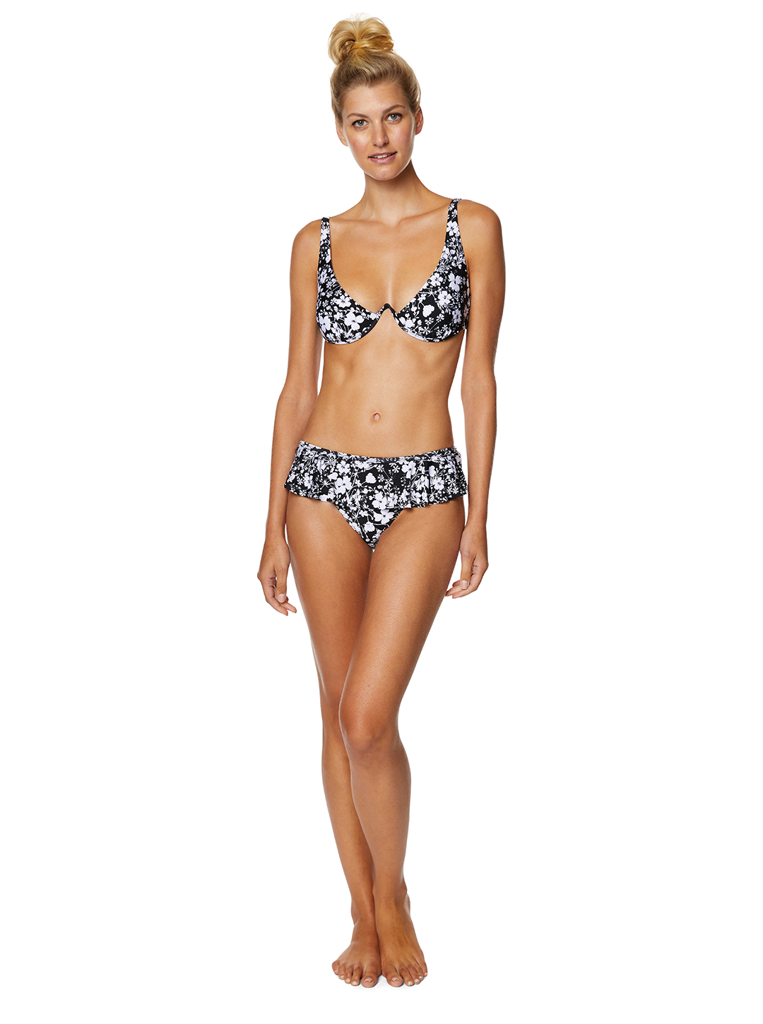 Avec Les Filles Lily of the Valley Floral Ruffle Swimsuit Bottom - Black/White - Front