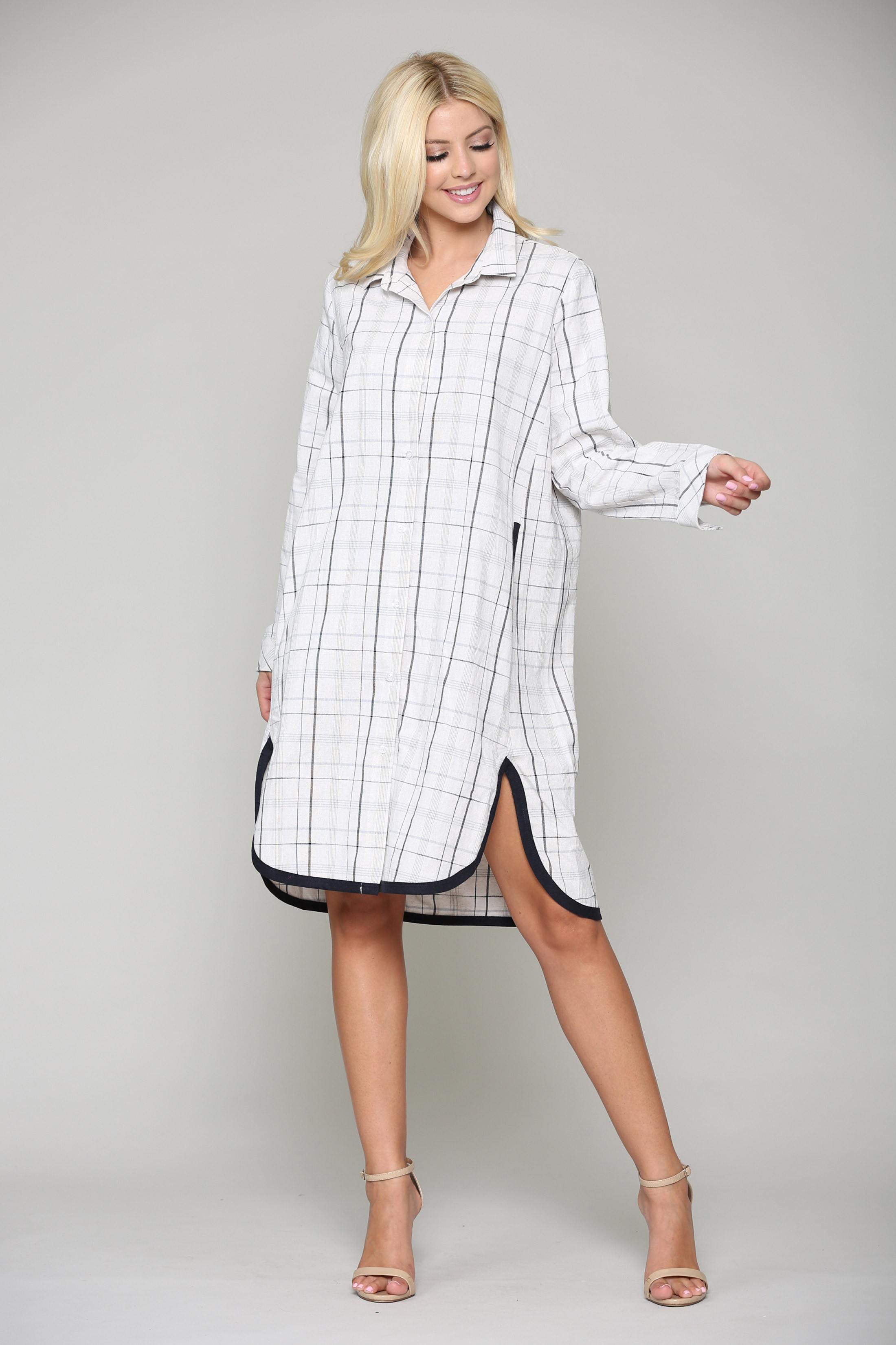 Lucia Tunic Dress - Black / White - Front