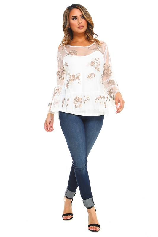 Lizzie Top -White - Front