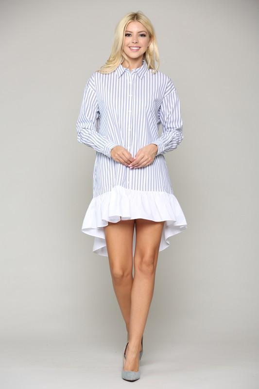 Winslet Tunic Dress -Blue stripe - Front