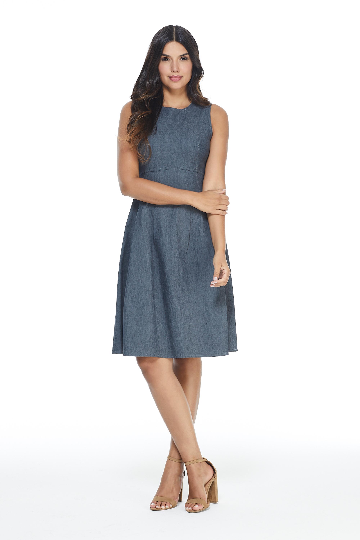 Denim Fit & Flare Dress -Denim - Front