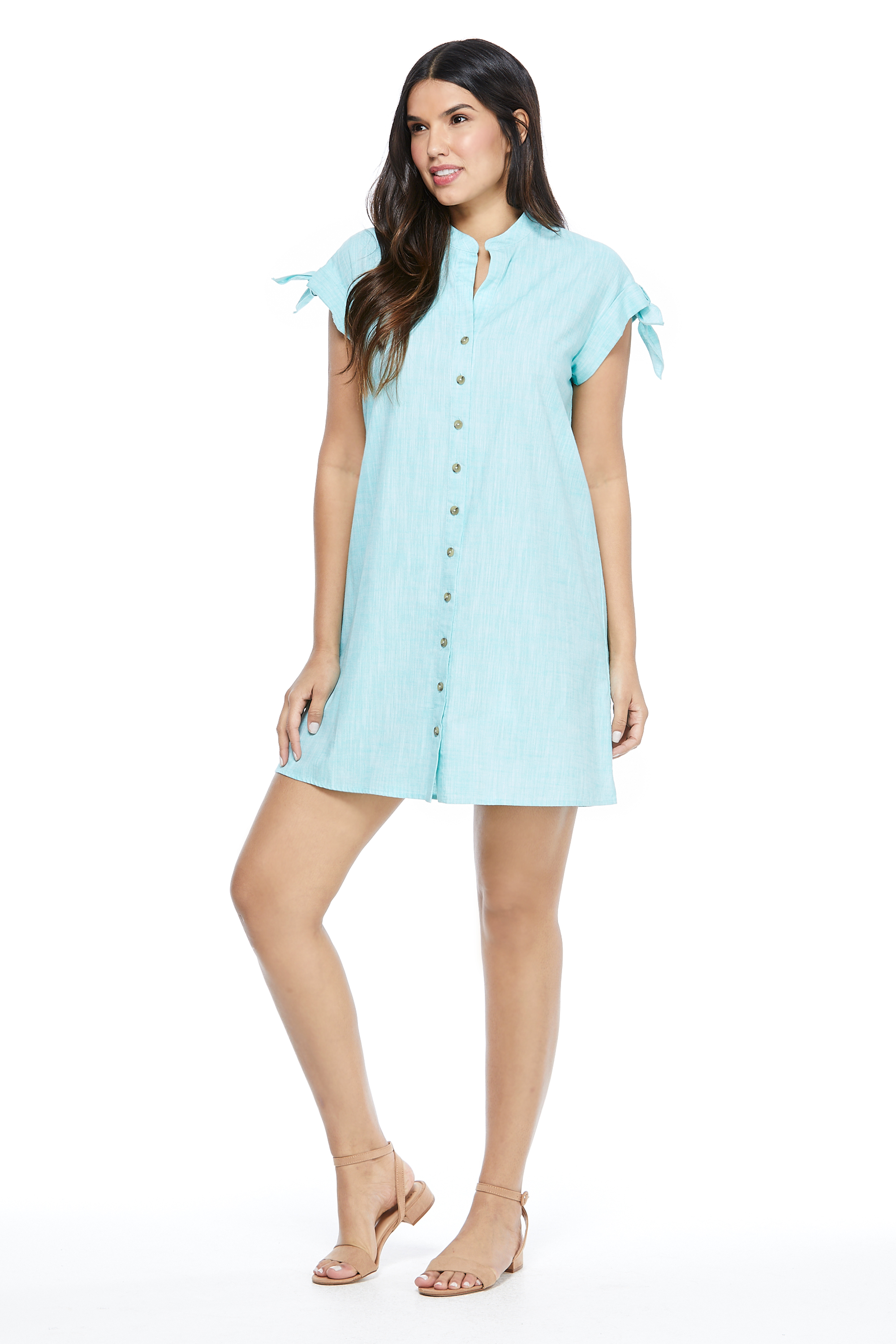 Blue Shirt Dress -Turquoise - Front