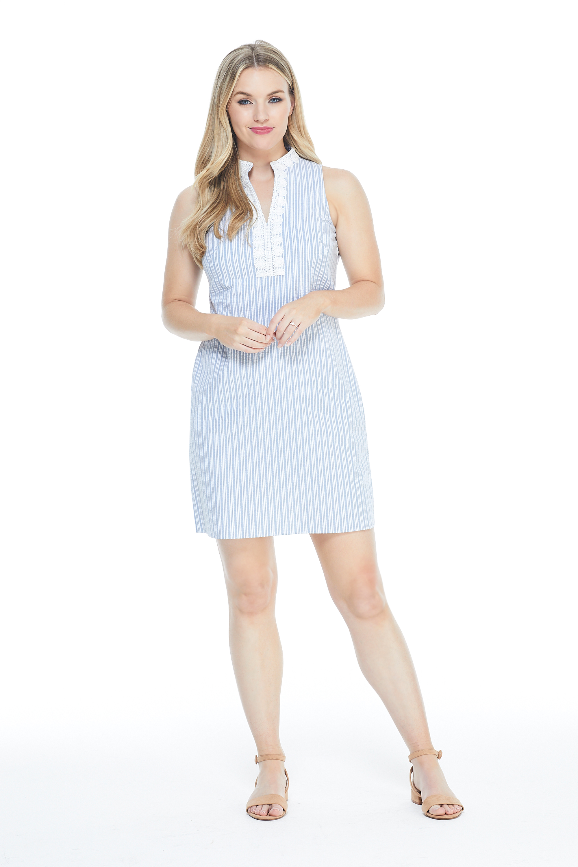 Casual Striped Shirt Dress -Blue/White - Front