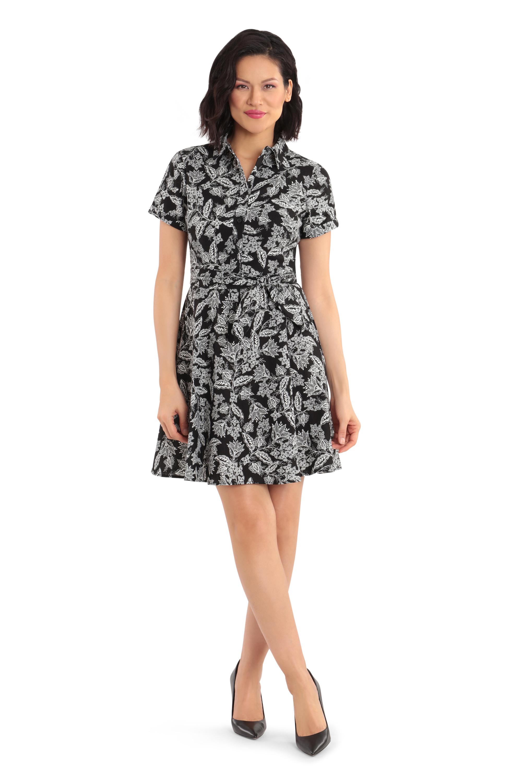 Short-Sleeves Semi-Formal Dress -Black/White - Front