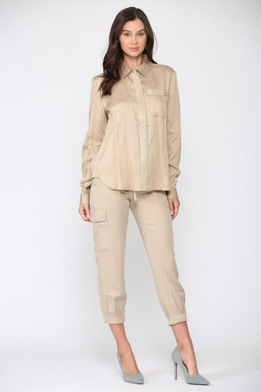 Wendy Shirt Top - Khaki - Front
