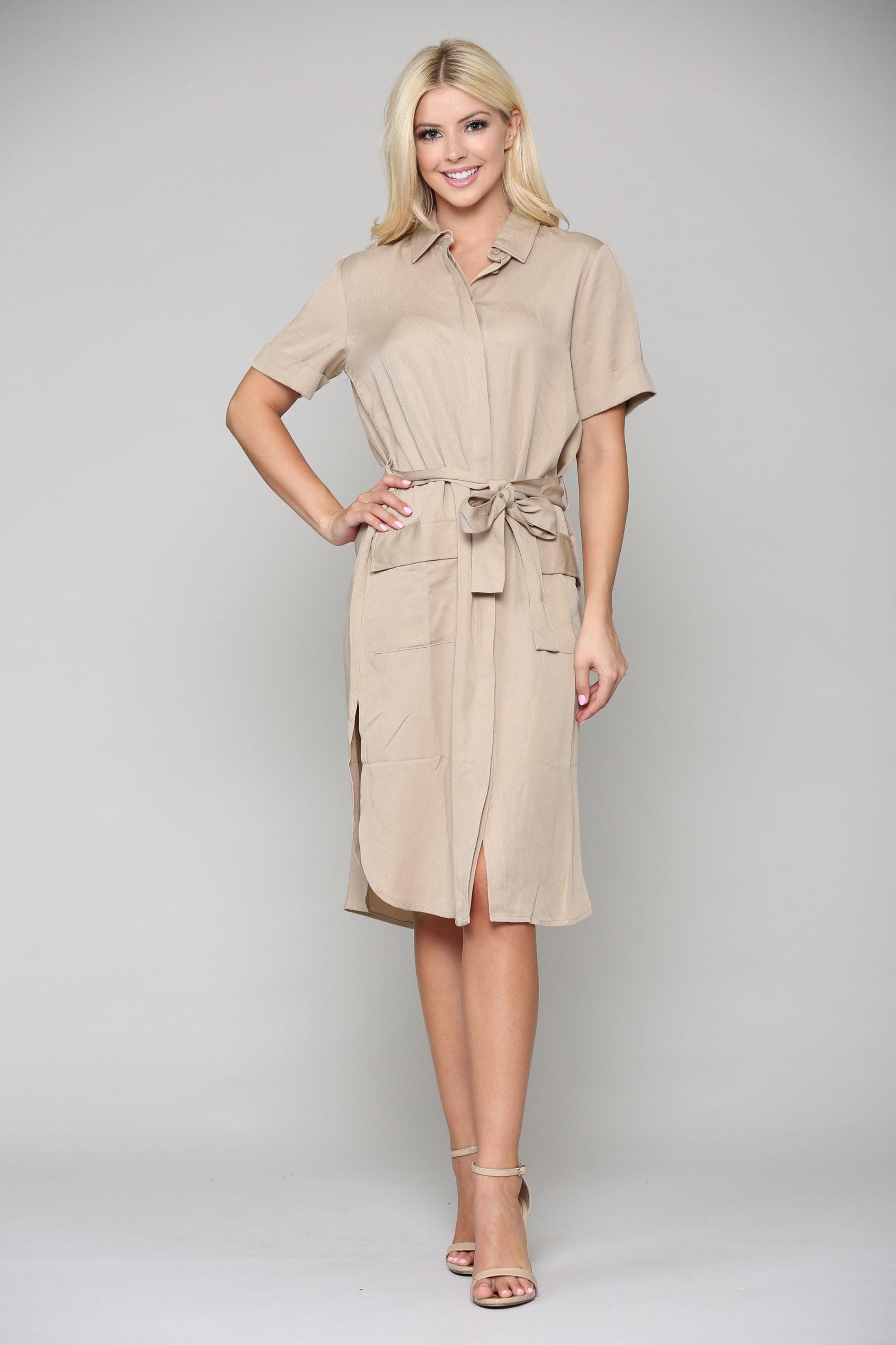 Teresa Tunic Dress -Khaki - Front