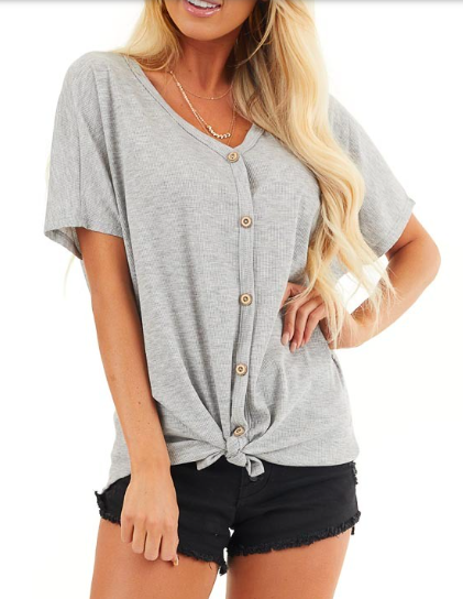 Faux Button Tie Front Tee -Grey - Front
