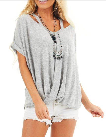 Cross Front Oversized Tee -Grey - Front