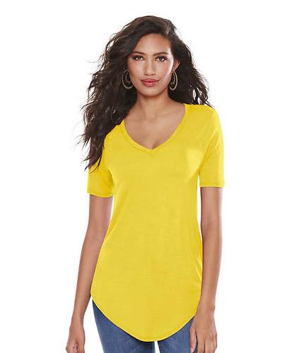 Basic V Neck Long Tee -Yellow - Front