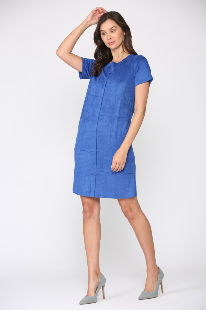 Adelyn Dress W/ Front Detailed Stitching -Cobalt - Front