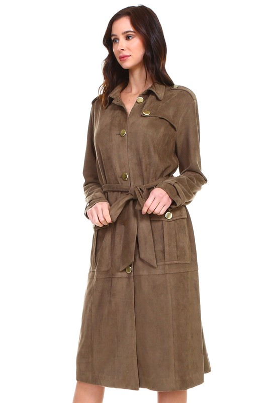 Ariana Trench Coat - Olive / Brown - Front
