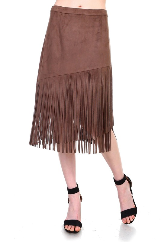 Amalia Fringe Skirt -Umber - Front