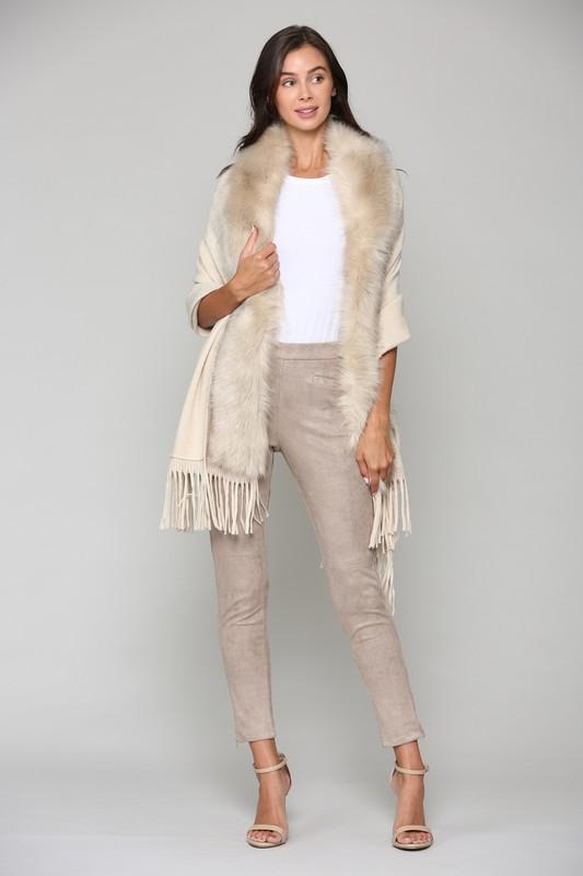 Faye Fur Wrap -Khaki - Front