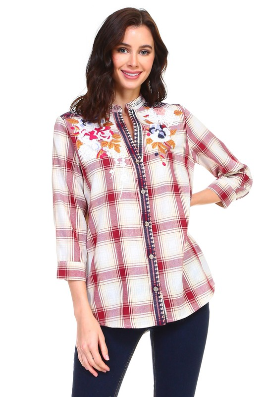 Penelope Embroidered Shirt -Multi - Front