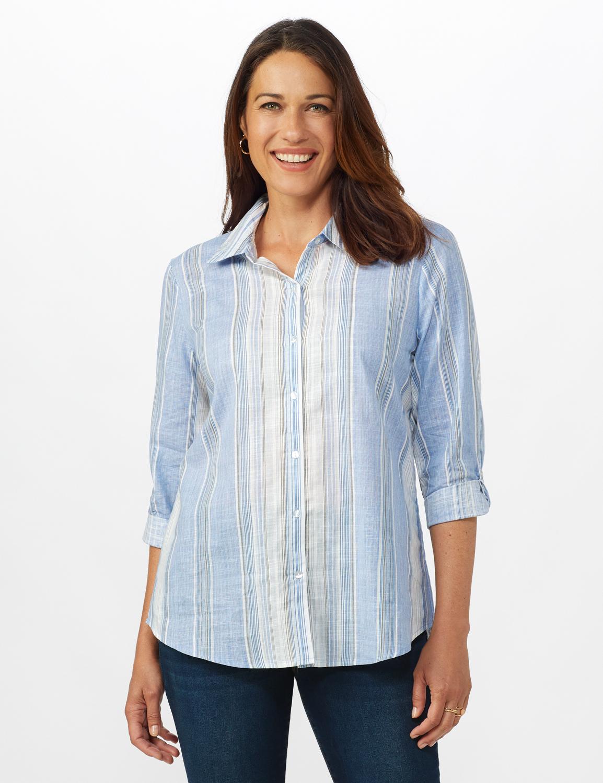 Denim Friendly Yarn Dye Stripe Shirt - Misses -Blue/Green - Front