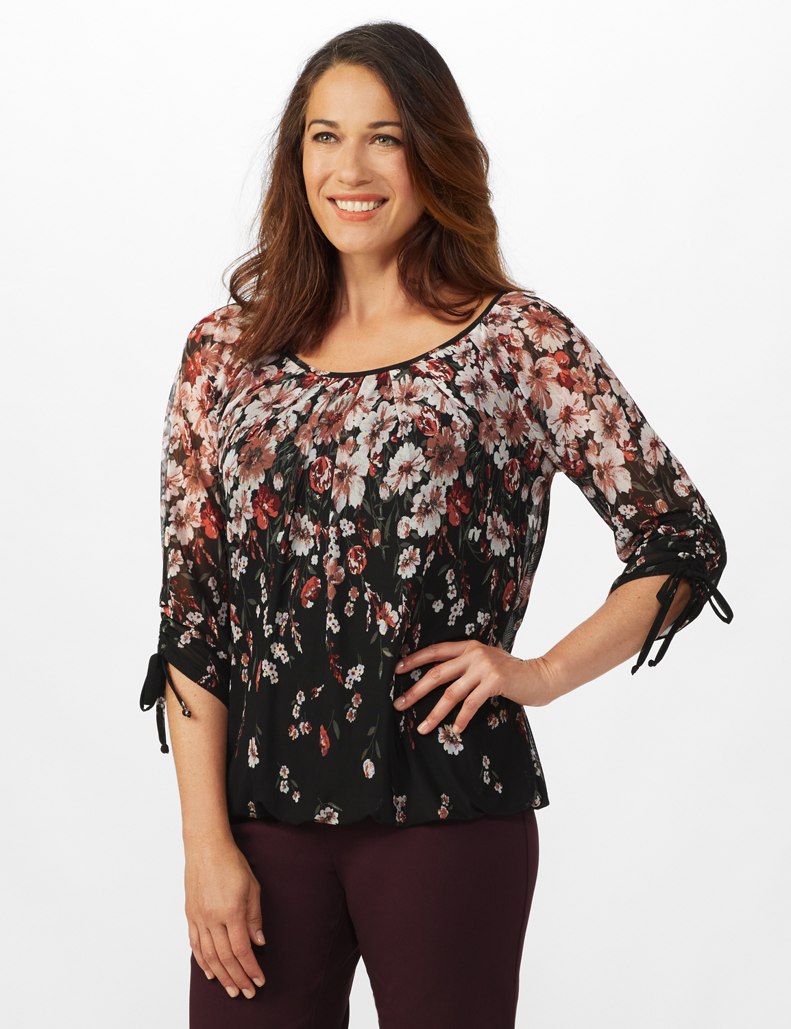 3/4 Sleeves Placed Border Bubble Hem Blouse - Black/Mauve - Front