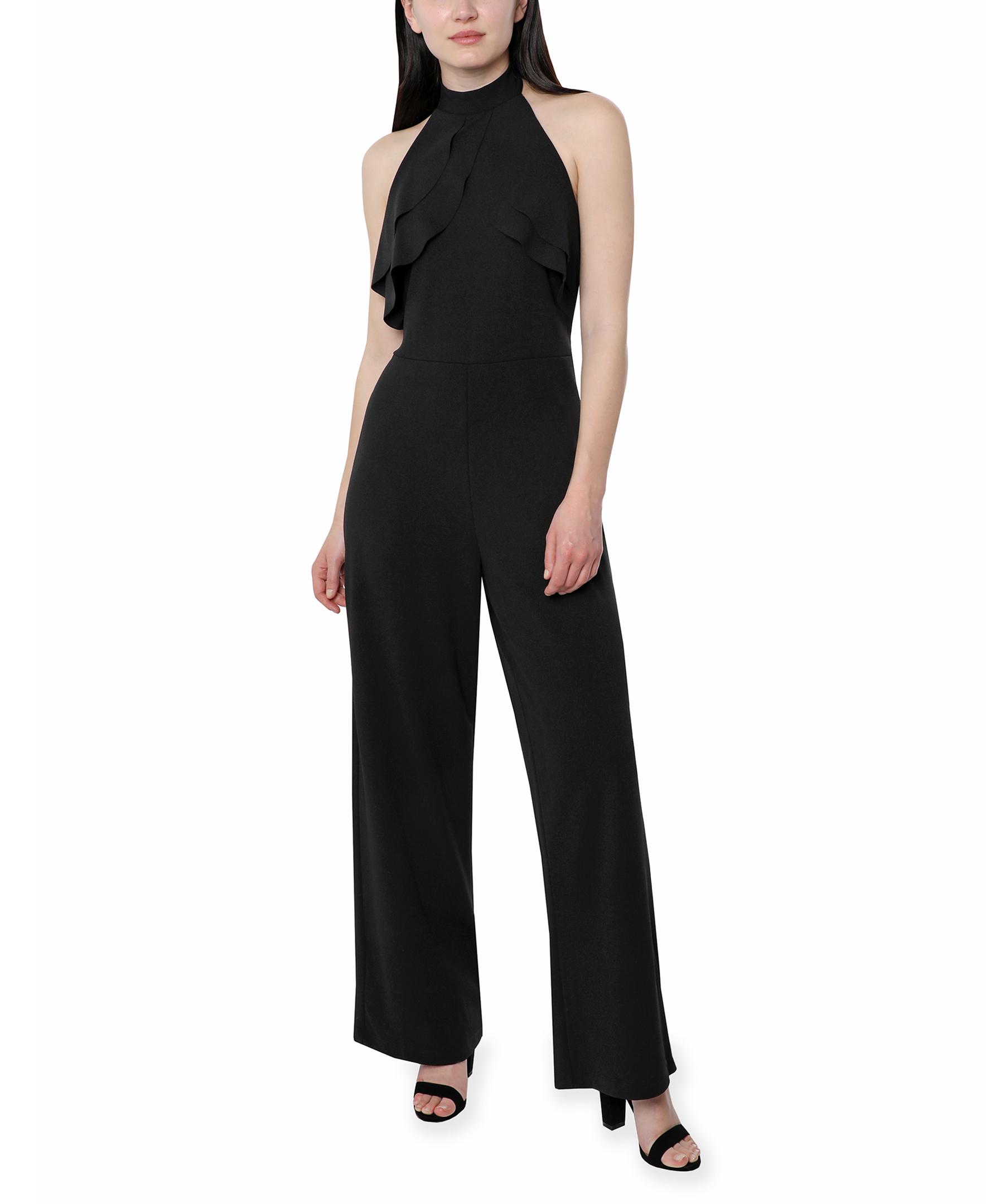 Bebe Halter Jumpsuit -black - Front