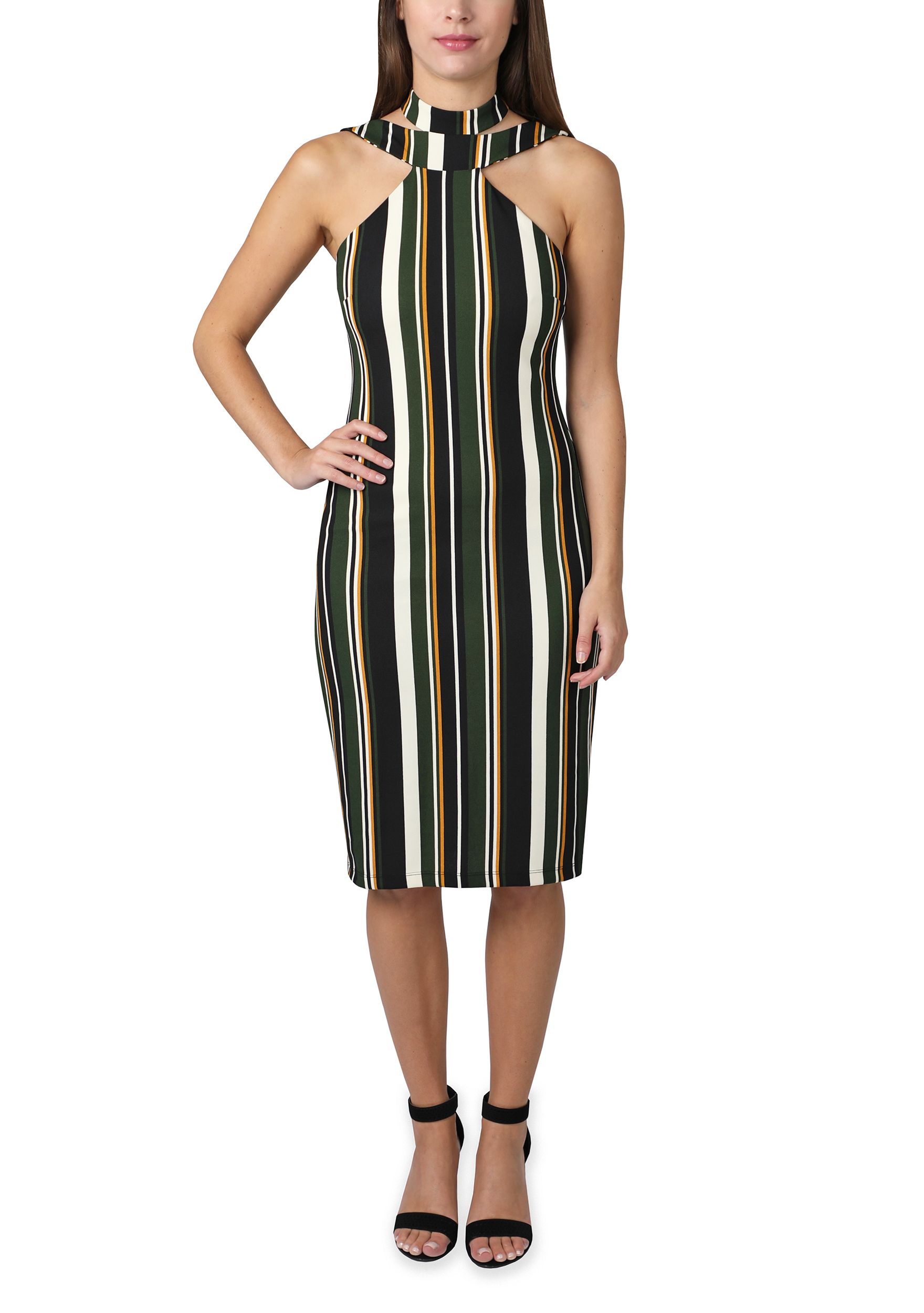 Bebe Stripe Halter Midi Dress - Green/multi - Front