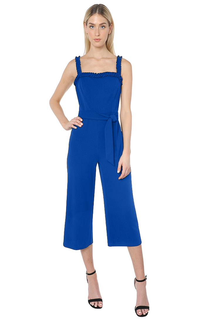 Bebe Waist Tie Cropped Jumpsuit -royal - Front
