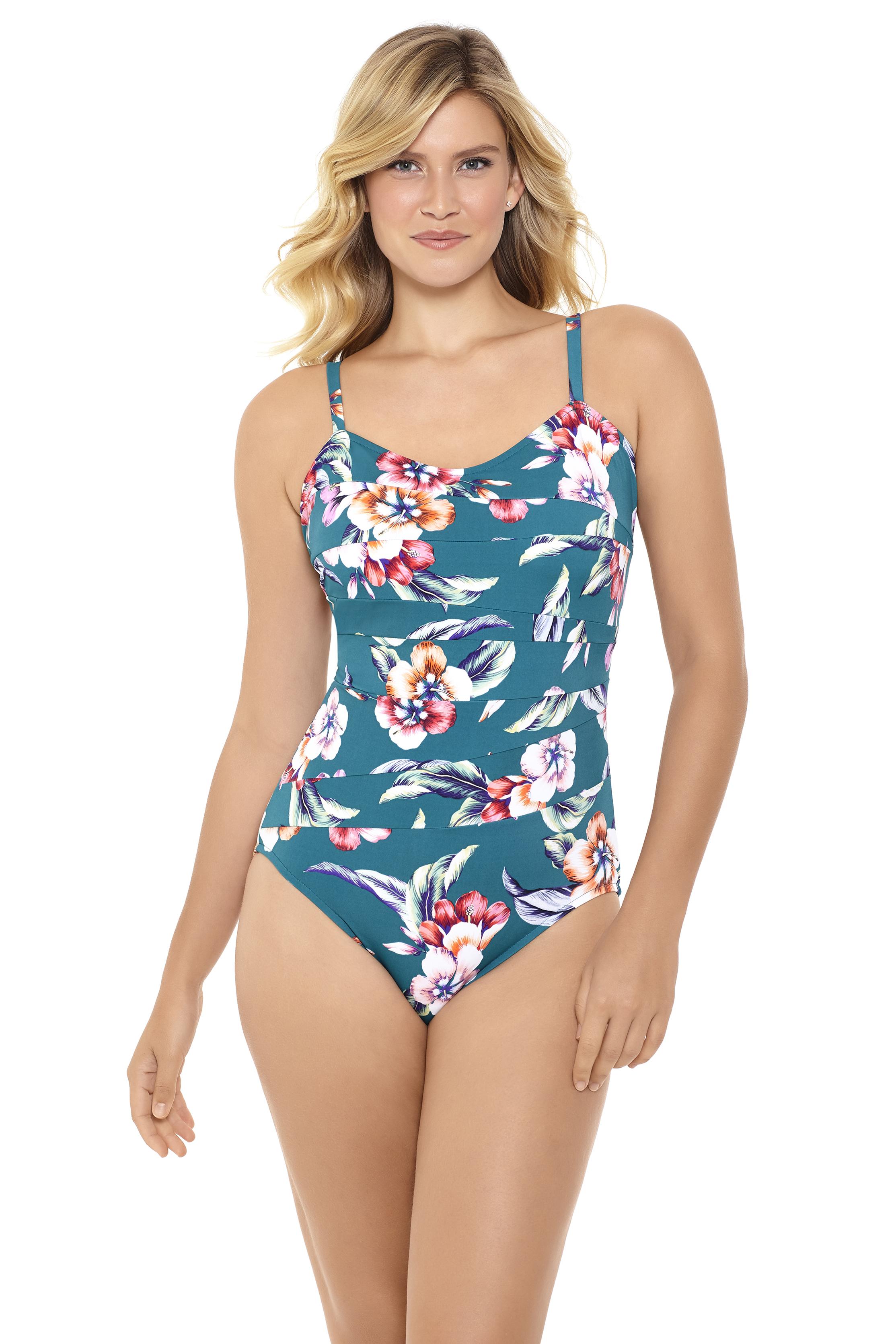 Penbrooke Vintage Floral Seamed One Piece Swimsuit -Teal - Front