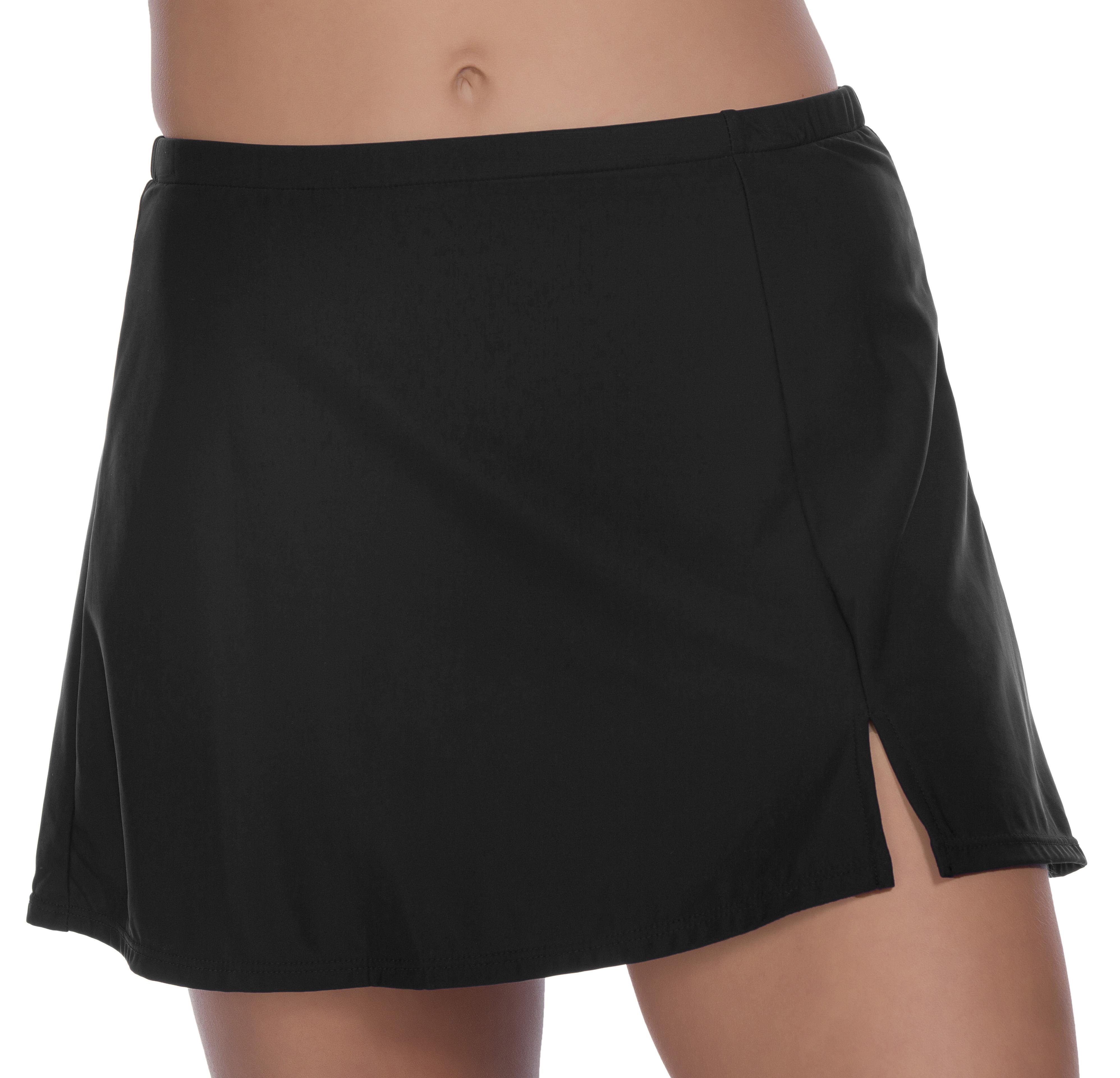 Penbrooke Side Slit Swimsuit Skirt Bottom -Black - Front