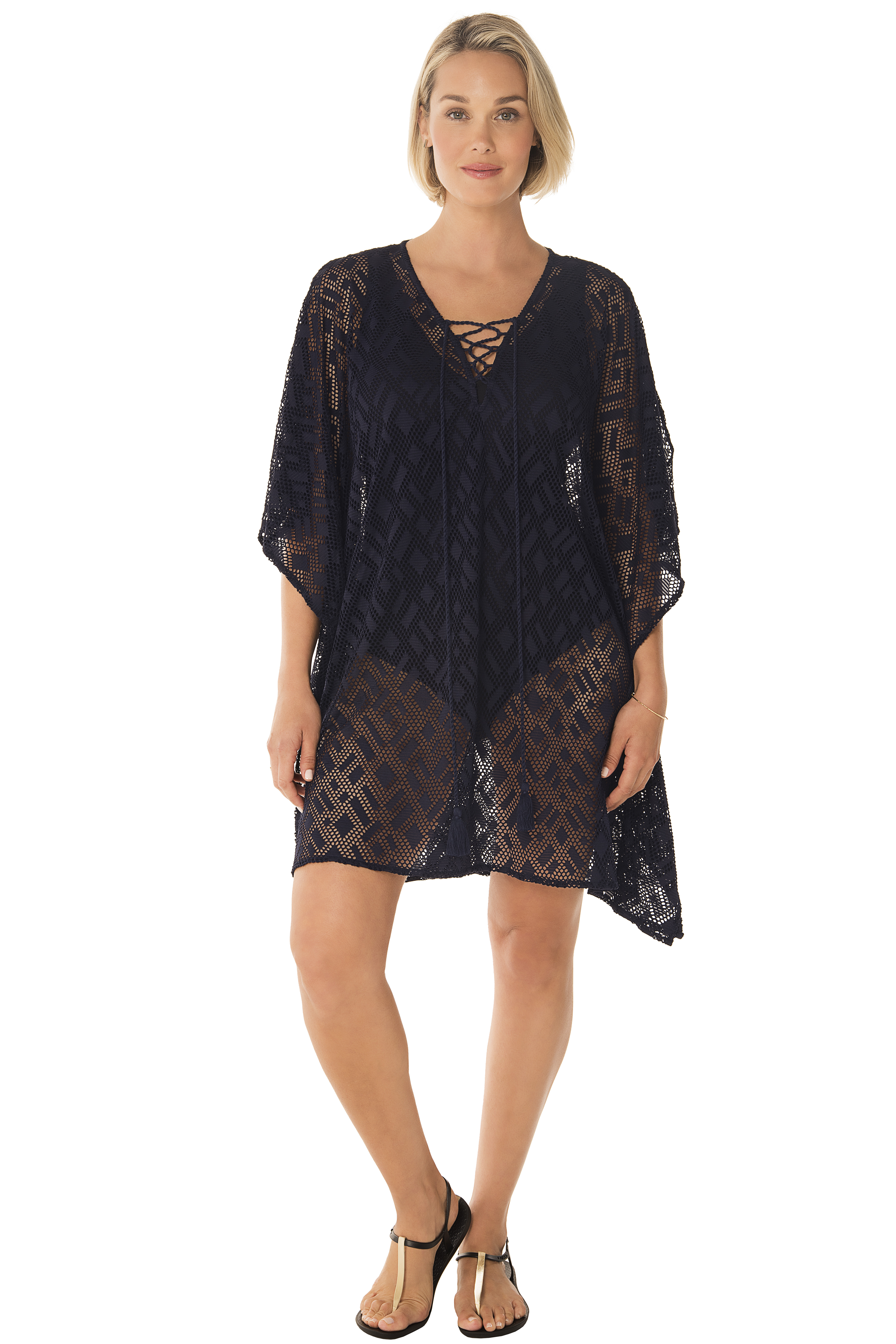 Penbrooke Crochet Lace-Up Neck Swimsuit Cover-Up -Navy - Front