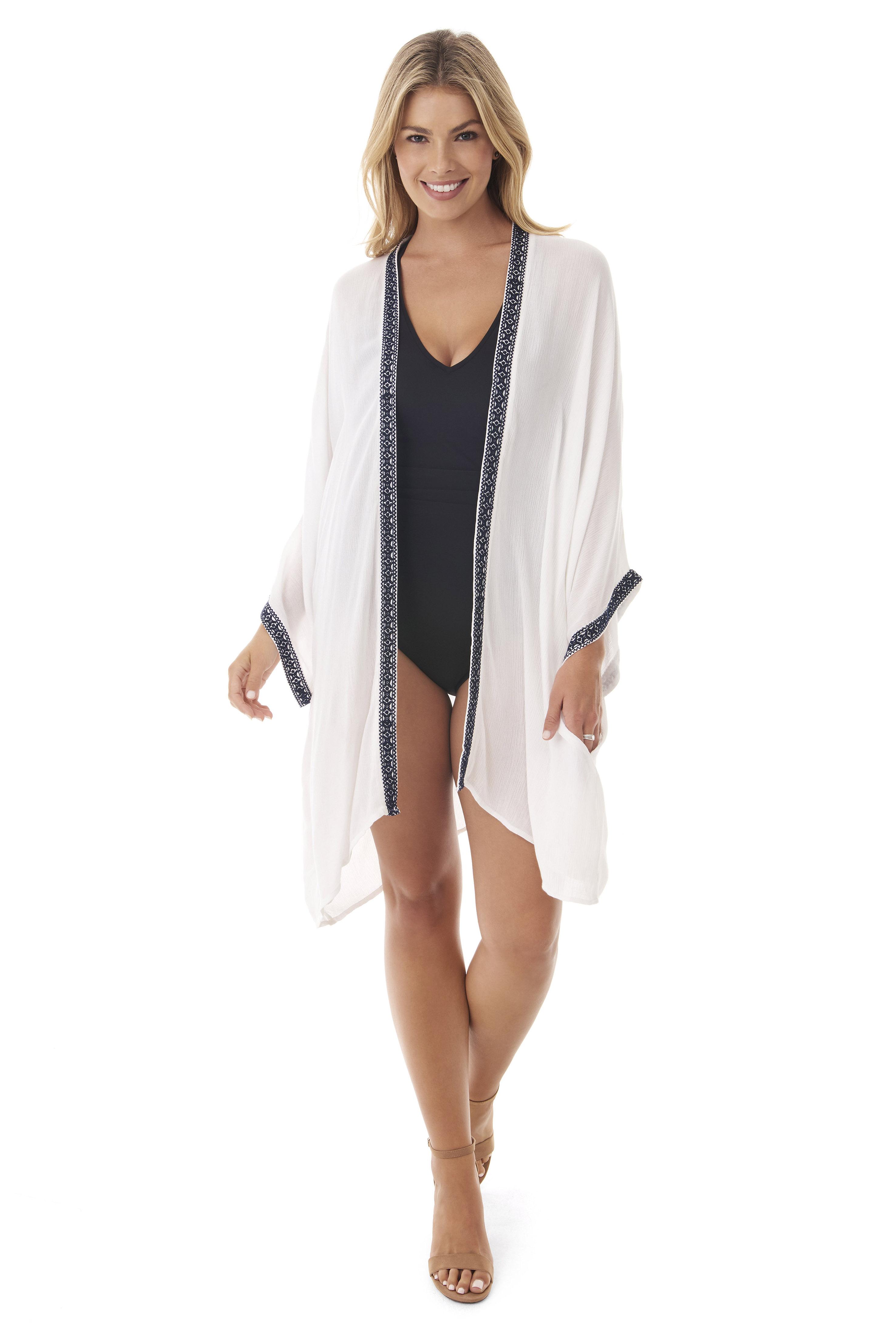 Penbrooke Kimono Swimsuit Cover-Up - White - Front
