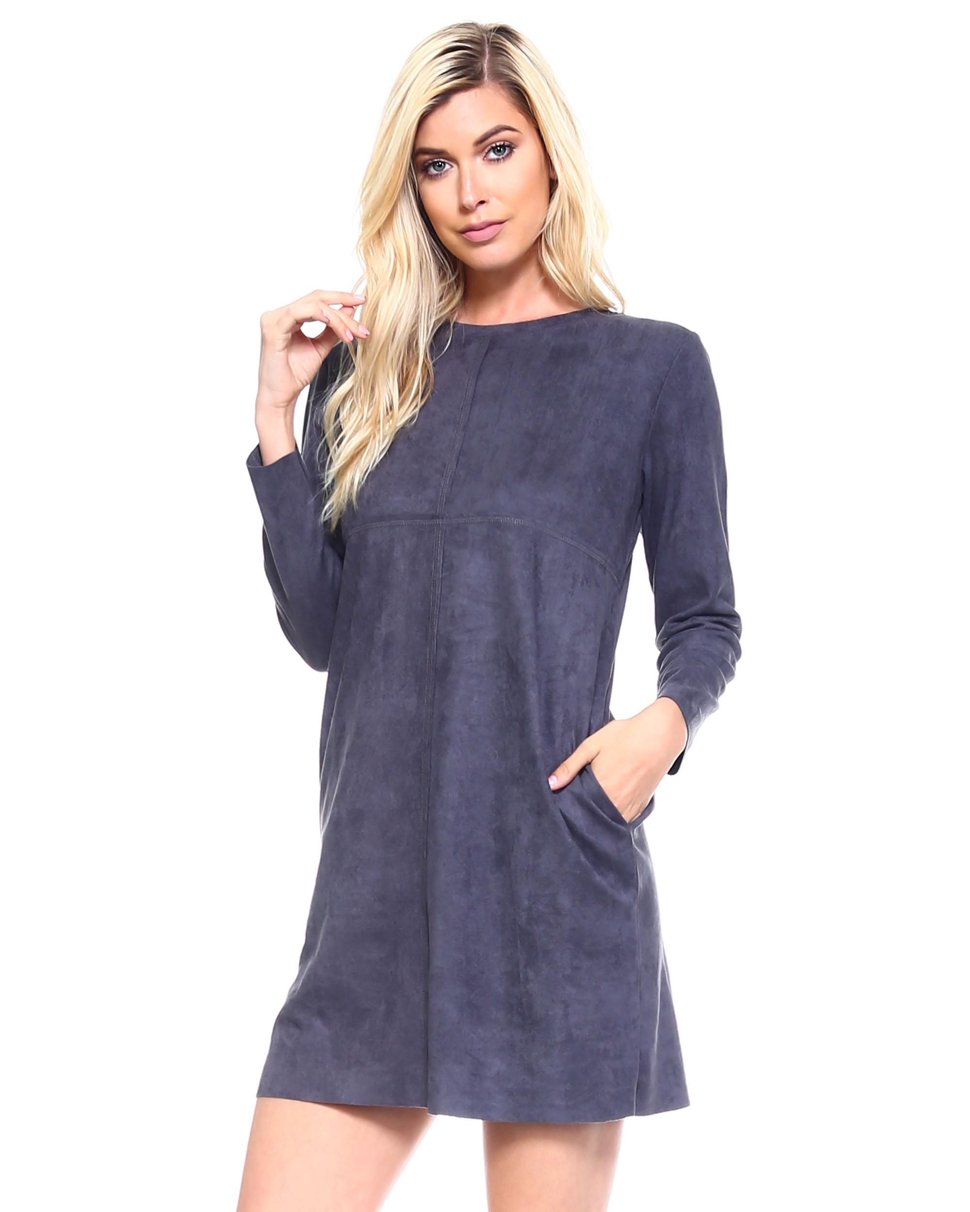 Faux Suede Aurora Dress -Charcoal - Front