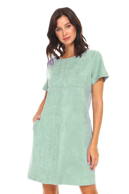 Audrey Tunic Dress W/ Round Neckline - Sage - Front