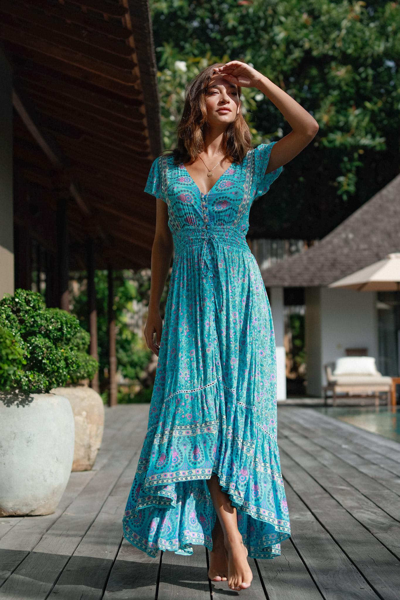 Aqua Long Dress -Aqua - Front