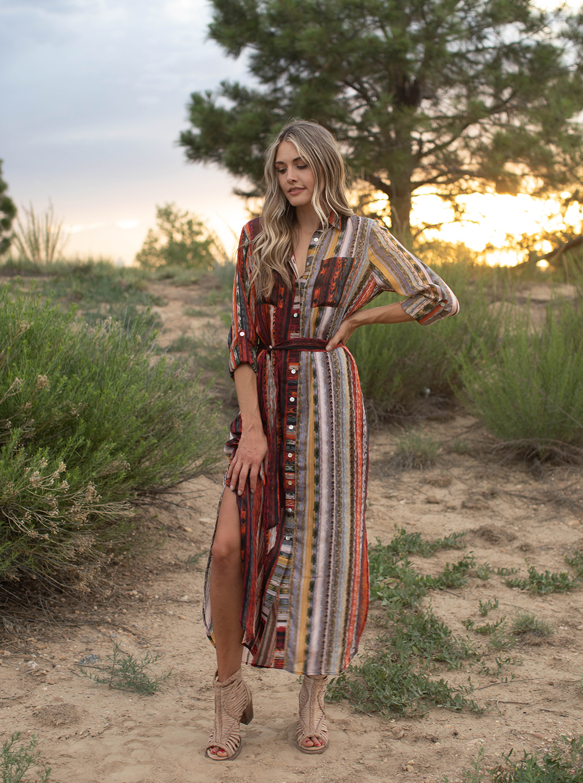 Stripe Maxi Shirt Dress -rust/Olive - Front