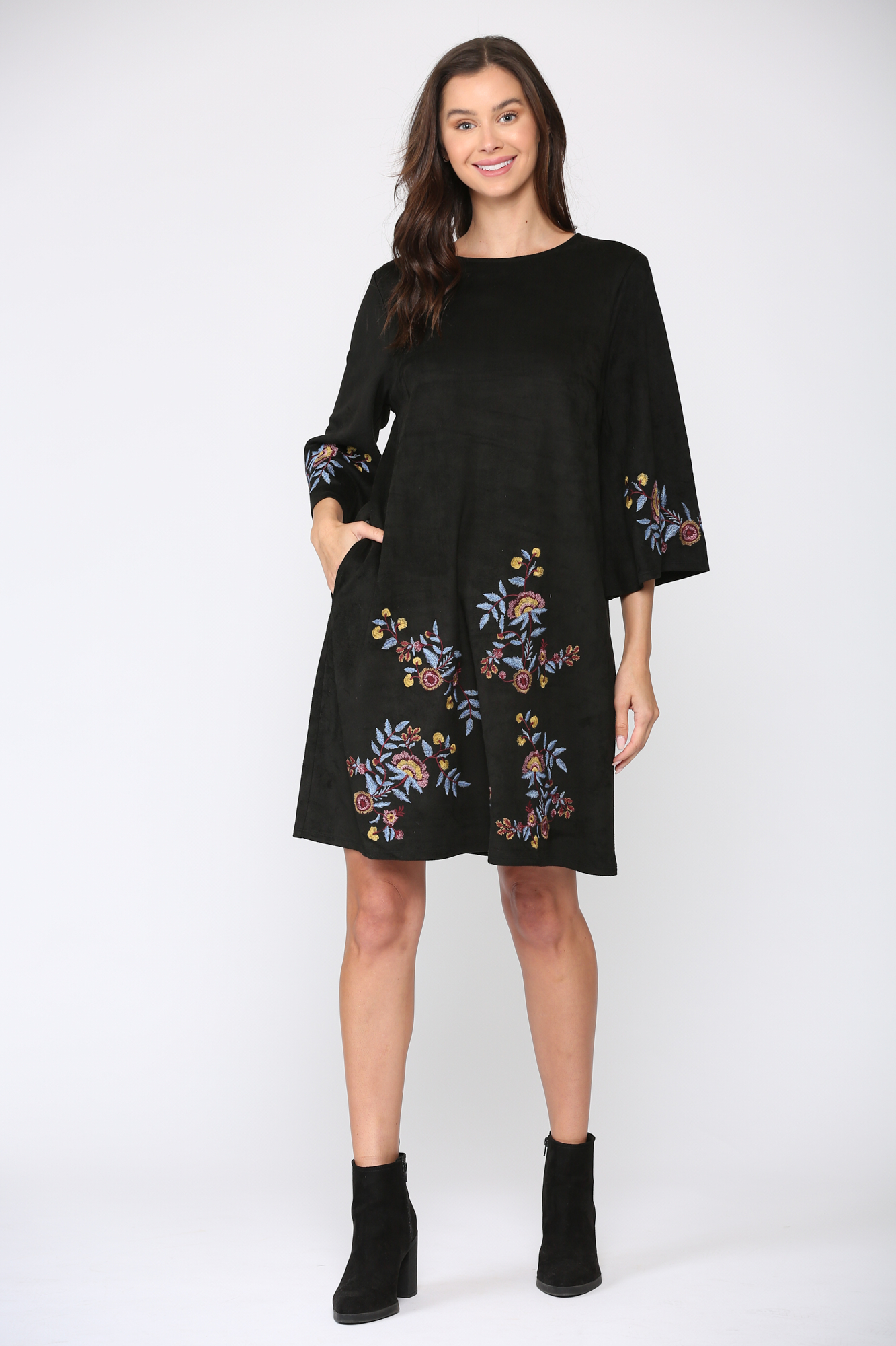 Avery Dress - Black floral - Front