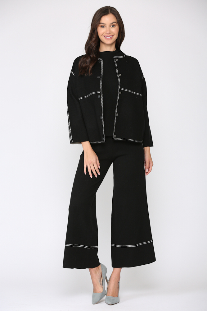 Stacia Ribbed Knitted Jacket -Black - Front