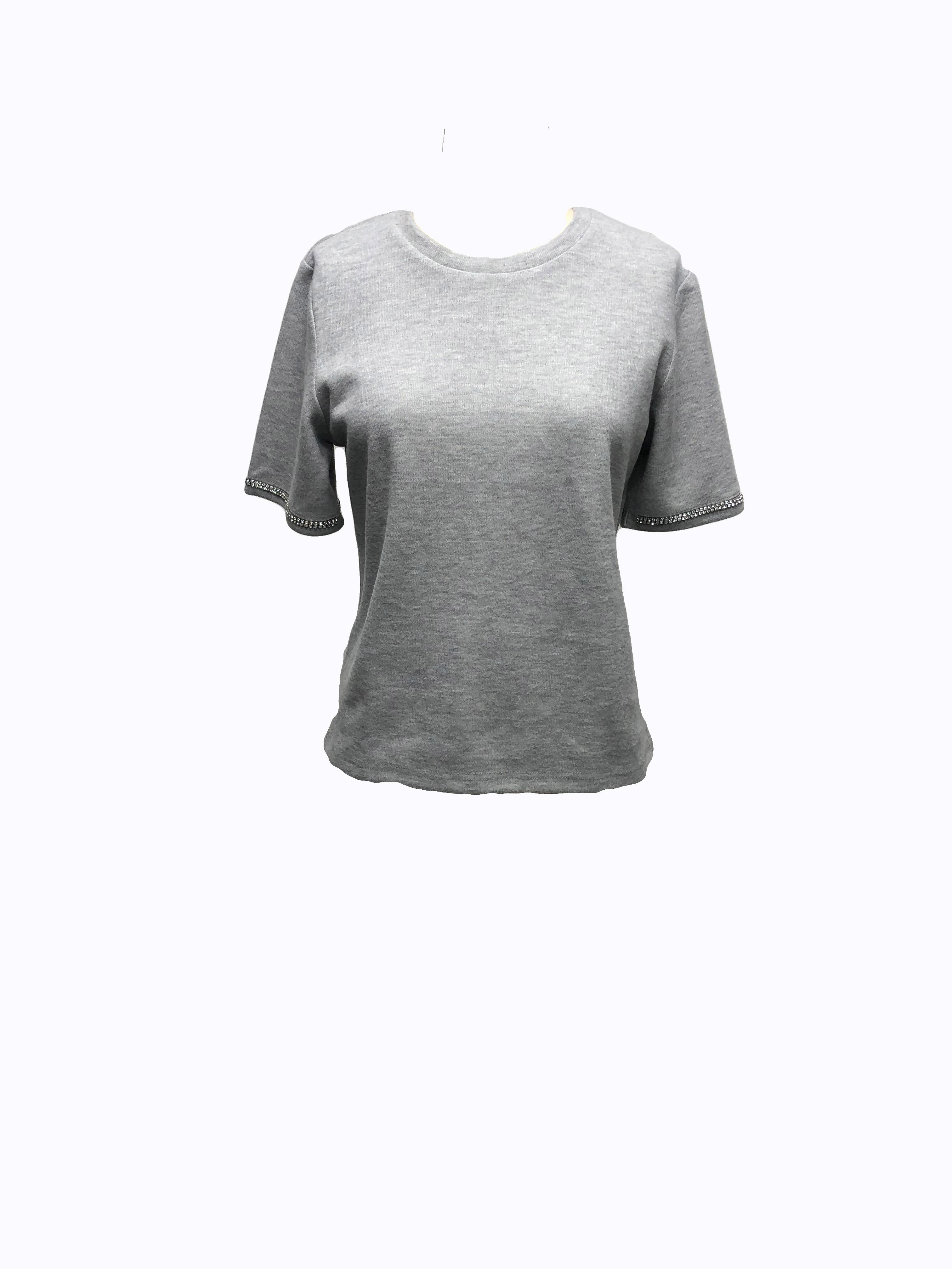 Sophia Diamond Trim Round Neckline Top -Gray - Front