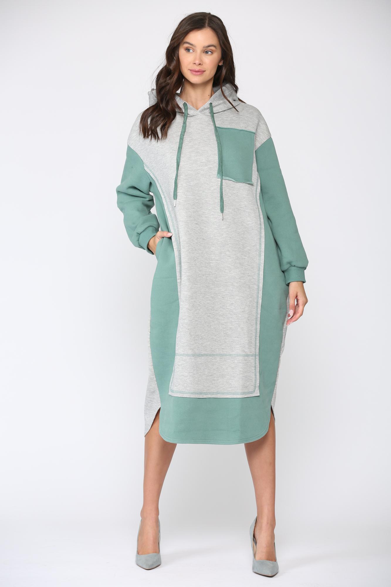 Fatima Color-block Dress -Green - Front