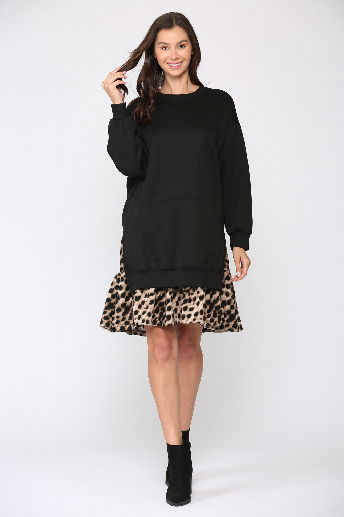 Fae Animal Print Dress -Black-Leopard - Front