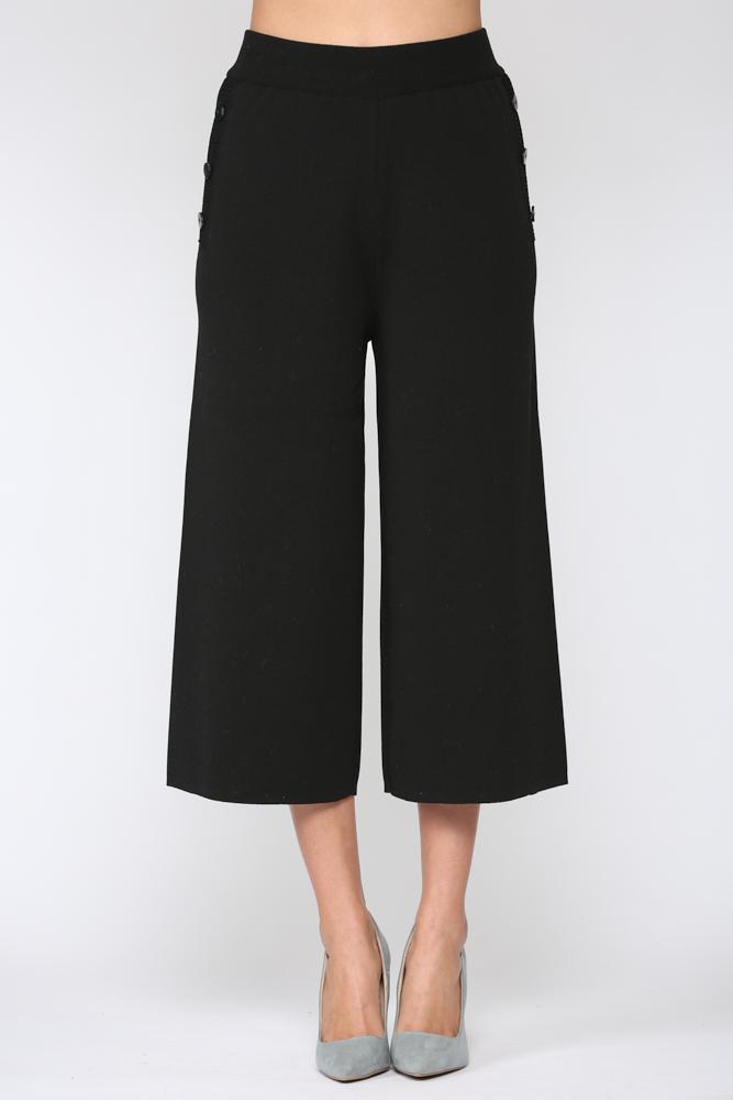 Sunia Rib-Knit Pant -Black - Front