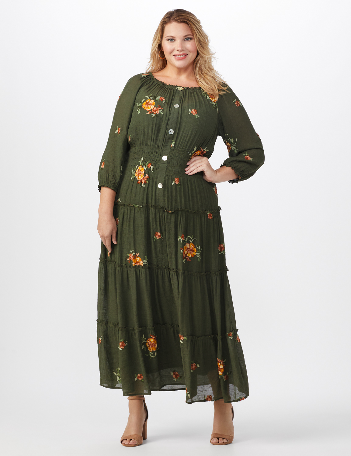 Embroidered Texture Peasant Dress-Plus -dark olive - Front