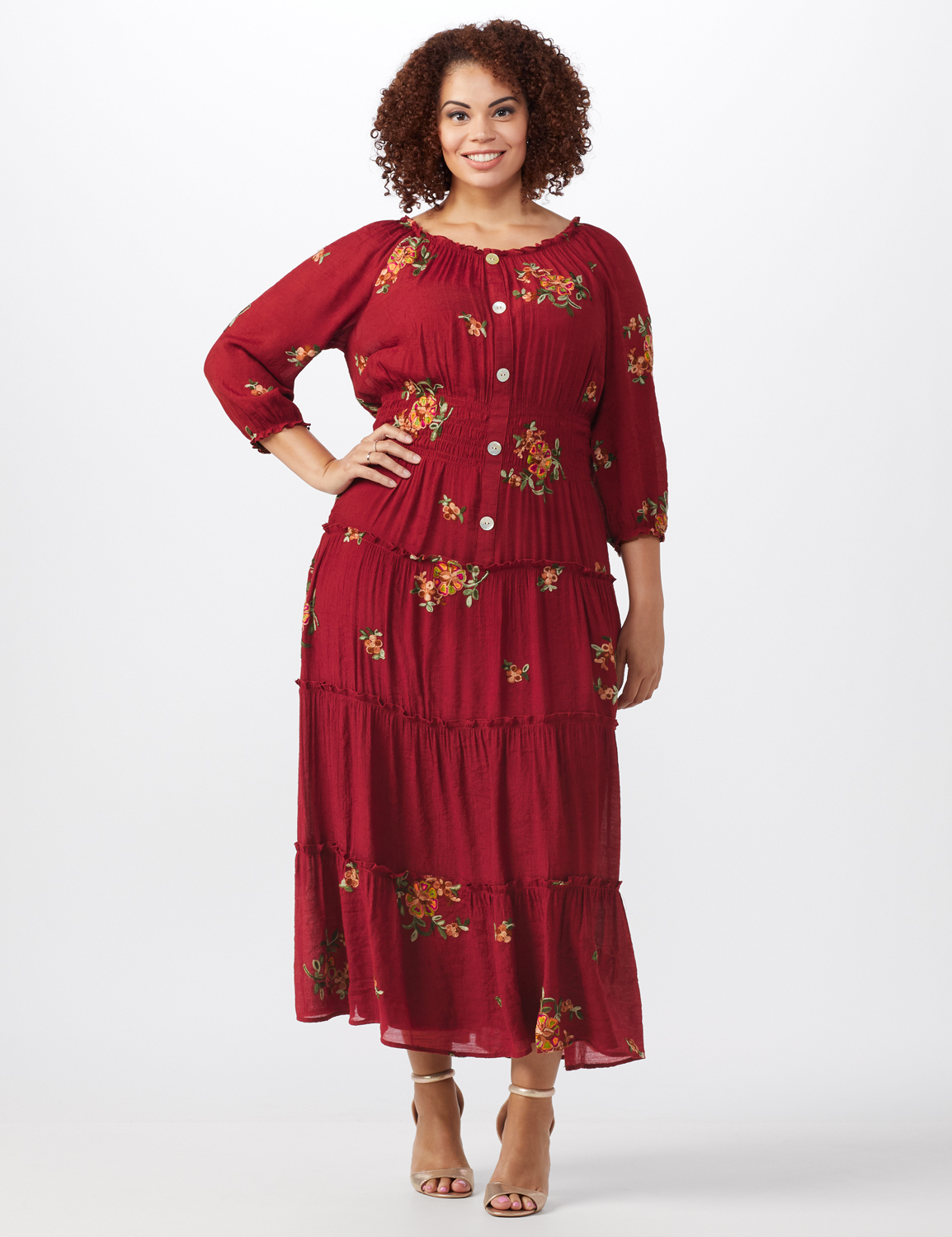 Embroidered  Textured Peasant Dress-Plus -Rust - Front