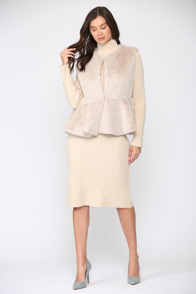 Jemma Fur Vest -Light beige - Front