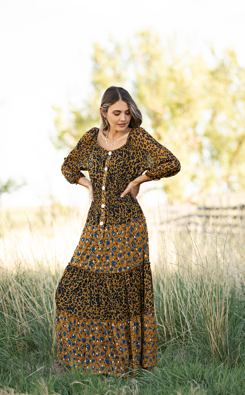 Petite Leopard Floral Peasant Dress -mustard - Front