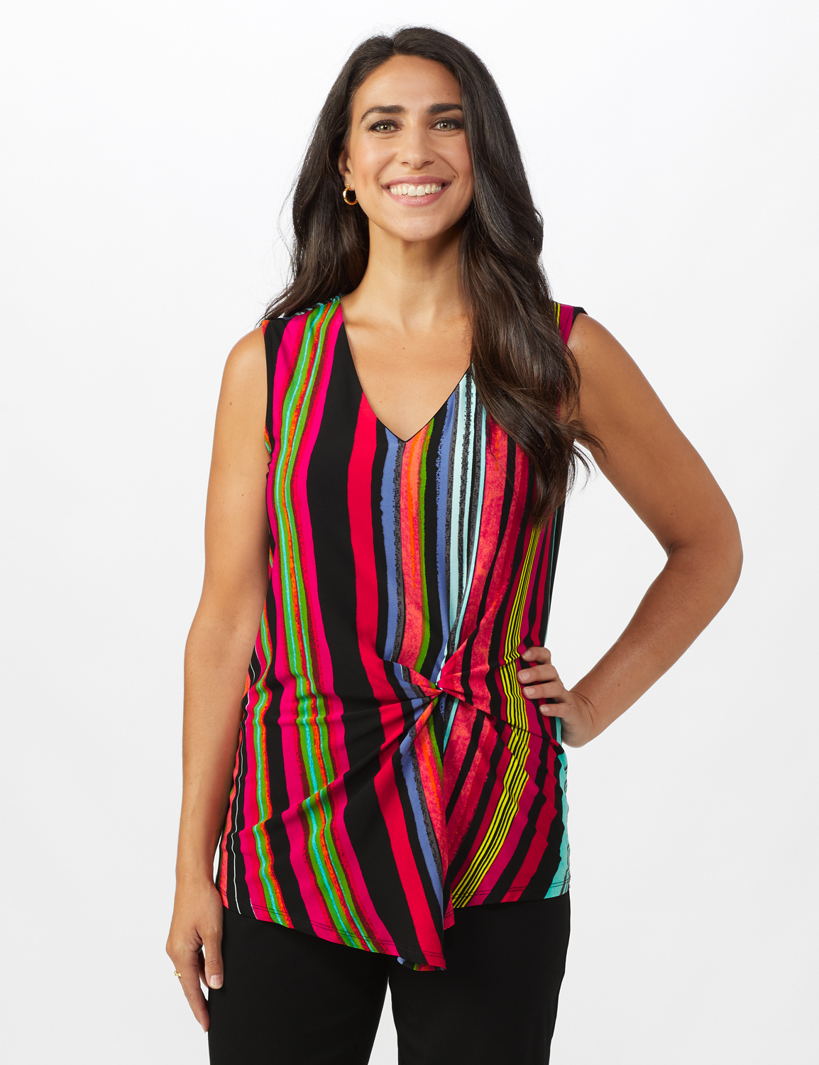 Multi Stripe Knot Front Knit Top -Multi - Front