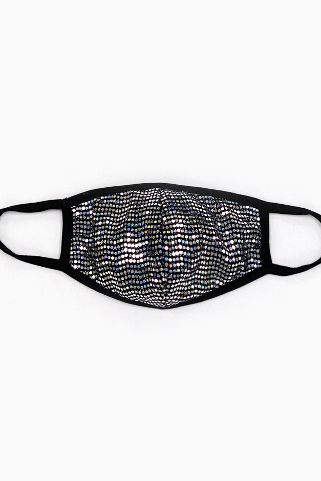Silver Sequin Printed Fashion Face Mask -Black - Front