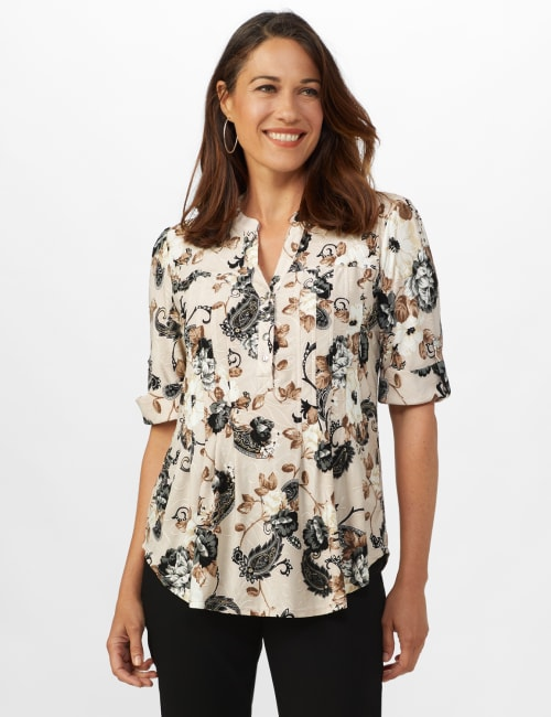 Jaquard Floral Pintuck Popover -Taupe/Grey - Front