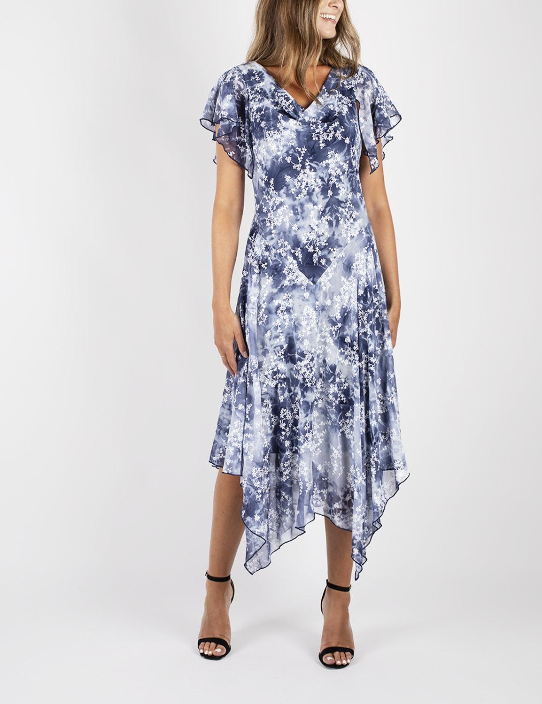 Tie Dye Hanky Hem Dress -Blue - Front