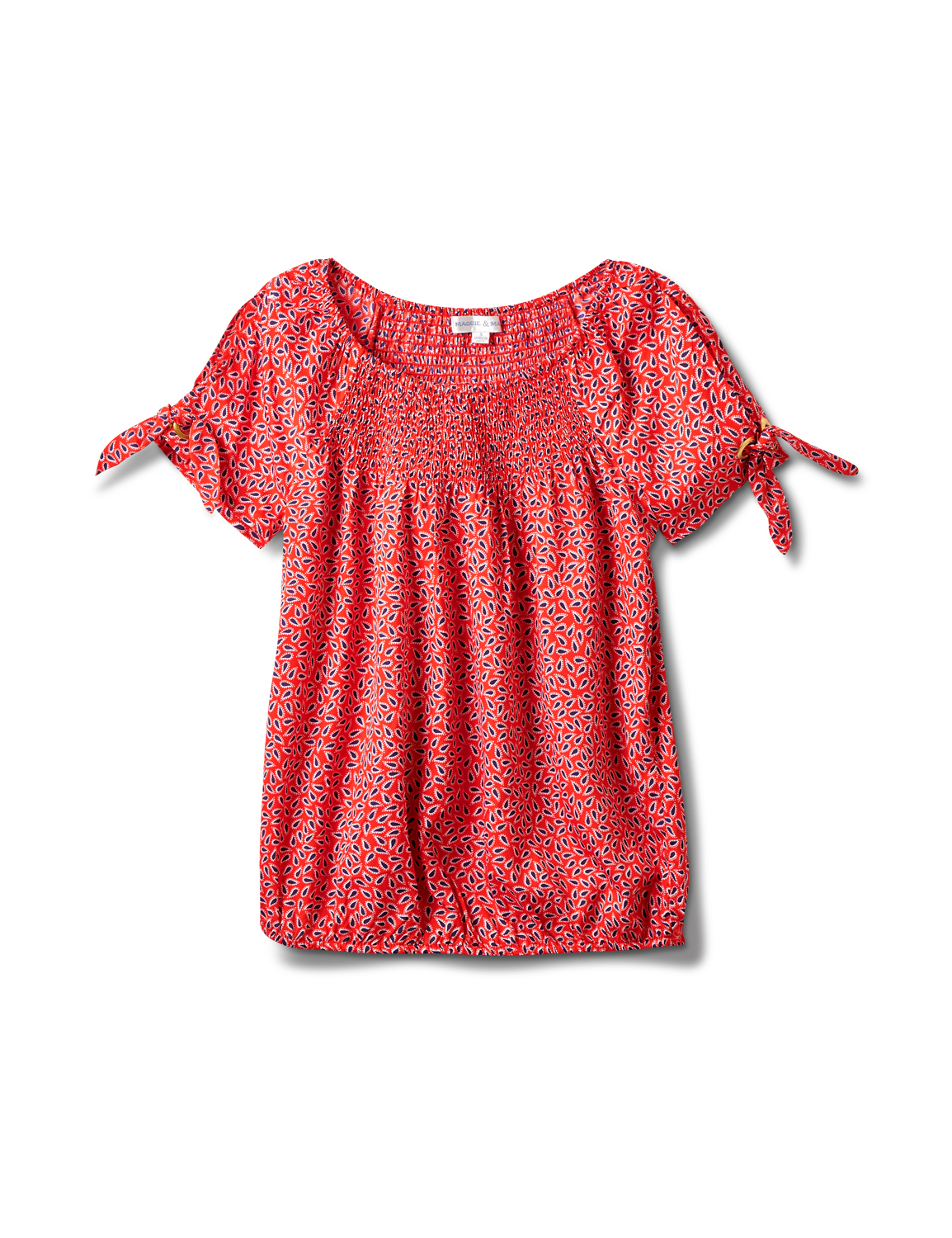 Small Pattern Smocked Grommet Top - Misses -Red - Front